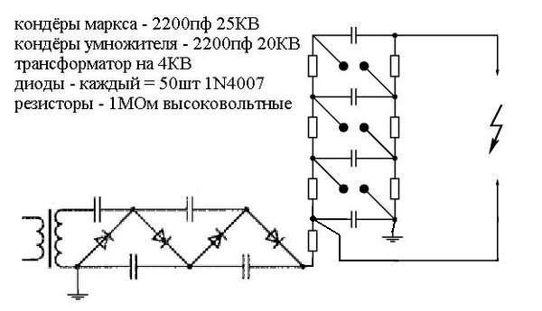 Схема генератора Маркса.